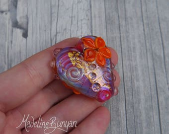 Hot Pink Heart Bead, Handmade lampwork glass bead, Flower Bead, Hearts & Flowers, Pink, Gold, Orange, Magenta, pendant bead, valentines gift