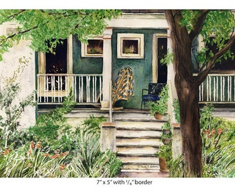 Albany Park, Chicago, Old House, with quilt on front porch, Giclee watercolor art print