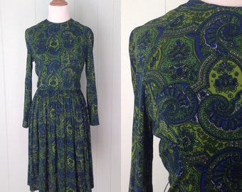 1960s Dark Blue and Green Paisley Dress | 60s Blue and Bright Green Dress | Vintage Retro Zipper Sleeve Bohemian Day Dress | Extra Small