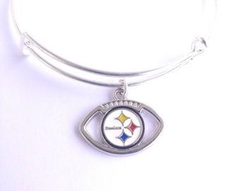 Pittsburgh Steelers football team charm bangle bracelet