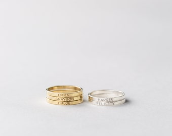 Personalized Ring Stacks • Custom Name Stack Ring Band • Dainty Name Ring • Initials Ring • Minimal Stacking Personalized Rings • LR502_1.8