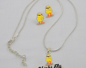 Chicks Fly Pendant Necklace and Post Earrings Set, Silver Tone Snake Chain, Brightly Colored Enamel Chicks