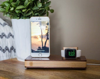 Wooden Apple Watch Stand, Apple Watch Docking Station, Mens Gift, Iphone  Dock,
