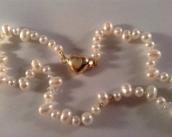 Elegant Teardrop Freshwater Pearls with Swarovski Crystals and 14 Kt Gold Beads and Clasp, Hand Knotted on Silk