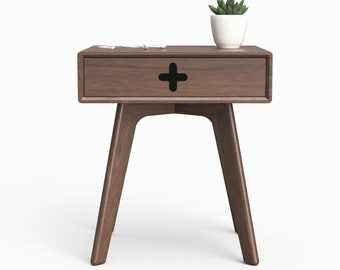 Mid-Century Modern Nightstand   Retro End Table   Modern Bedside Table   Danish Side Table, Retro Nightstand, Solid Walnut, Bedroom, Drawer