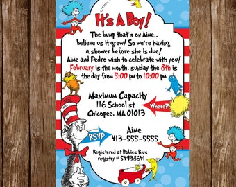 Cat in the hat baby shower invitation digital file