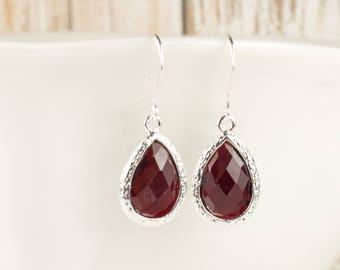 Garnet Silver Teardrop Earrings, January Birthstone Silver Earrings, January Garnet  Earrings, Birthstone Jewelry, Bridesmaid Earrings