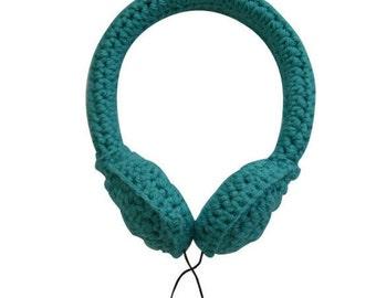 Teal Crocheted Headphones