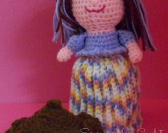 Crochet Chocolate Frosted Cupcake Doll ~ handmade