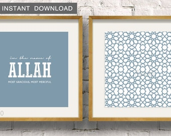 "Instant Download! In the name of Allah paired with a Moroccan Zillij pattern, Set of 2 Islamic Wall Art Print 5x5"" to fit IKEA Ribba Frame"