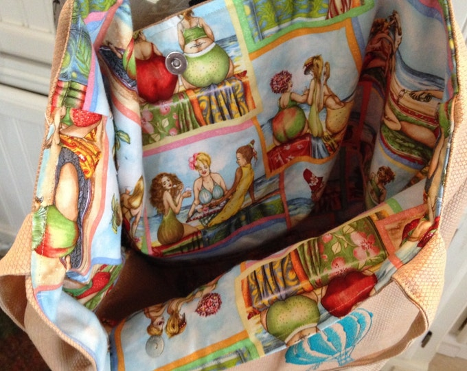 Paris Market Bag peach fruit bottom ladies fabric hot air balloons embroidery reversible washable easy care tote bag recycled home decor mtl