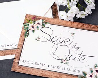 "Rustic Save The Date Cards - 5"" x 7"" Rustic Floral Wedding Announcement Cards - Save The Dates - Personalized Save the Dates - #satd-110"