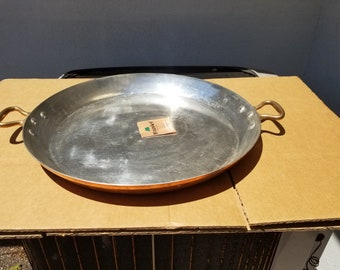 NOS - Vintage 50cm/19.5in  Mauviel Tin Lined Copper Paella Pan