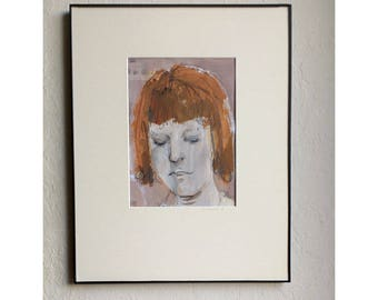 Woman Girl portrait face original painting MATTED figurative people acrylic paper