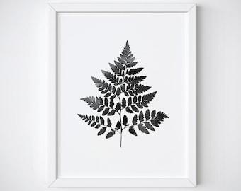 Botanical Print - Fern Leaf Print - Black and White Print - Leaf Print - Watercolor Plant Print -  Printable - Nature print - Leaf art