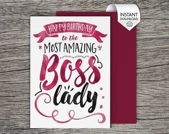 Boss birthday card etsy printable card happy birthday to the most amazing boss lady instant pdf download bookmarktalkfo