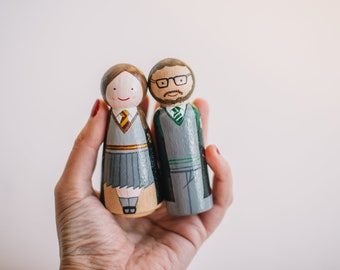 Harry Potter Wedding Toppers. Harry Potter Gift. Harry Potter wedding cake topper. Custom wooden wedding Cake Toppers. Harry Potter Peg