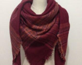 Burgandy w/ Light Pink/Red Stripes - Blanket Scarf