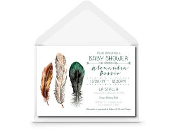 Boho Baby Shower Invitation - Bohemian - Feathers and Arrows - Green and Gold -  Printed Invitation