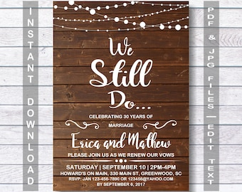 We still do invitations etsy wedding anniversary invitation we still do instant download rustic wedding anniversary invitation stopboris