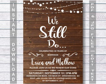 We still do invitations etsy wedding anniversary invitation we still do instant download rustic wedding anniversary invitation stopboris Images