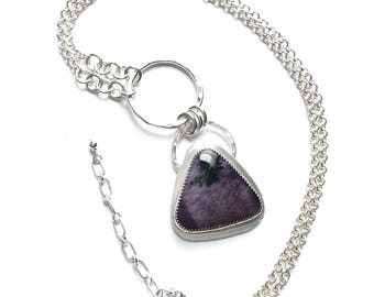 Purple Triangle Stone Pendant Bezel Set in Sterling Silver on Long Heavy Silver Chain - Tiffany Stone Pendant Necklace - Geometric Jewelry