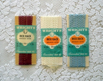 Vintage Wrights Rick Rack -Three Original Packages in Burgundy, White, and Light Blue