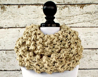 Chunky Knit Scarf Circle Scarf Oversized Cowl Chunky Knit Cowl - Highlands Cowl Oatmeal Cowl Oatmeal Scarf Knit Accessories - READY TO SHIP