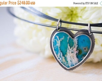 ON SALE Turquoise Necklace, Regency Rose Plume Agate Necklace, Heart Necklace, Statement Necklace, Love Necklace - Forests of the Heart