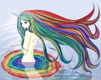 "Rainbow Bath Art Print - 8""x10"" or 11x14"" - original anime manga Unicorn girl art - Bianca Loran Art"