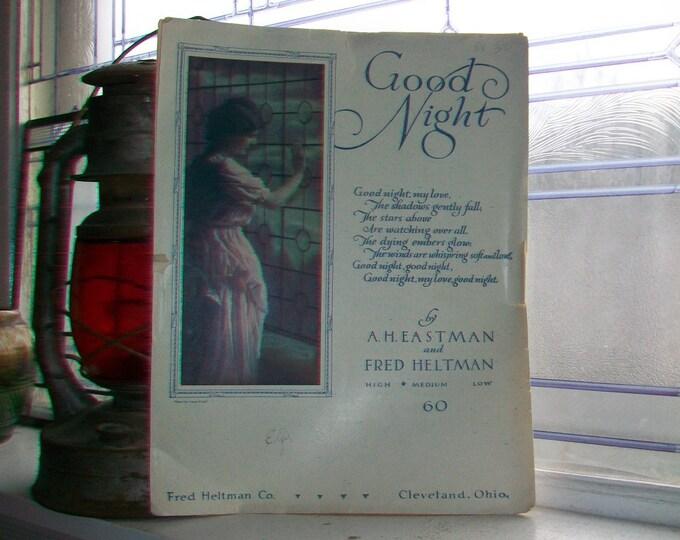 Vintage Sheet Music 1916 Good Night