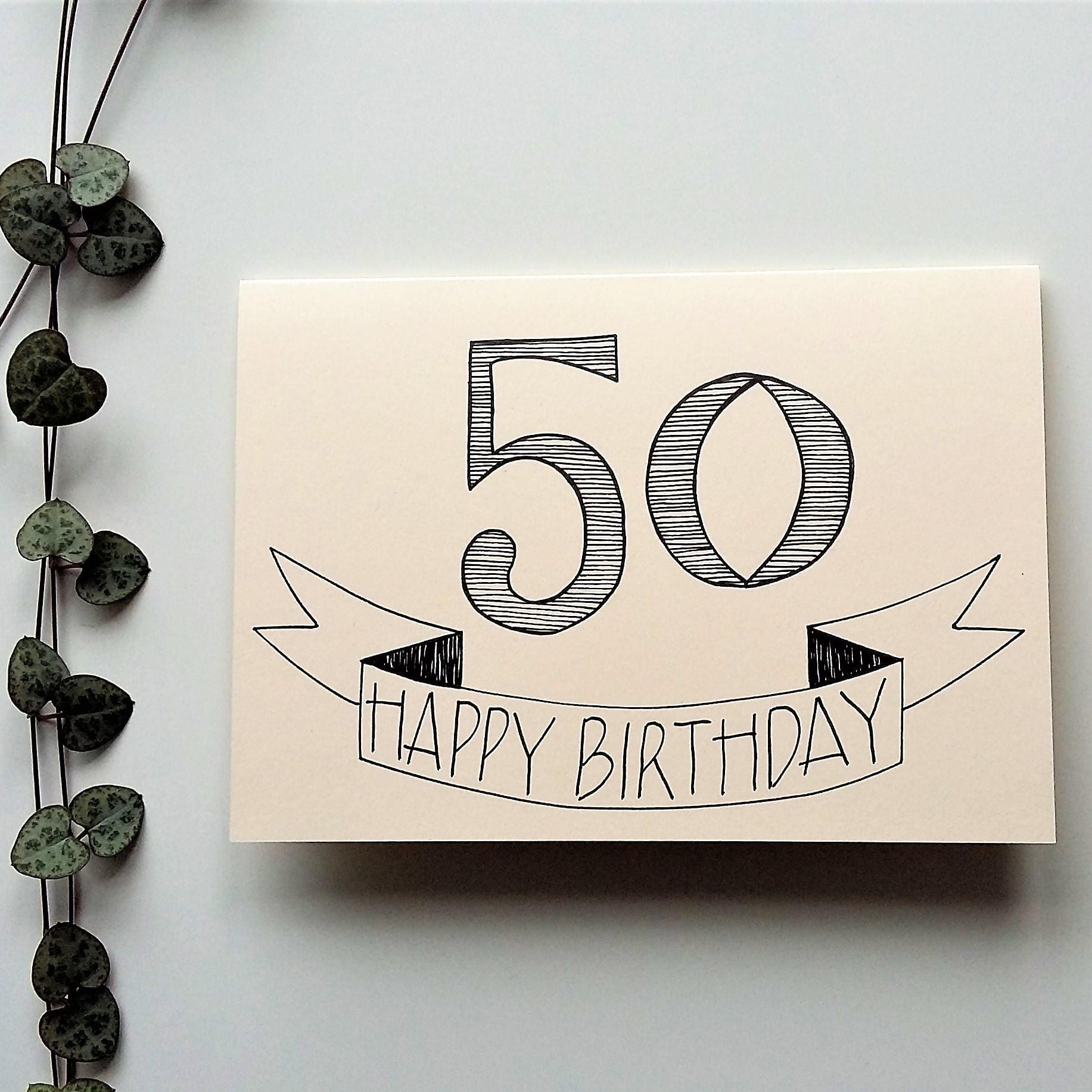 50th birthday card a6 hand drawn birthday card bookmarktalkfo Gallery