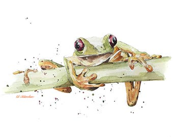 """Frog """" Print Watercolour A3 (30*40cm/16*12 Inches)"""