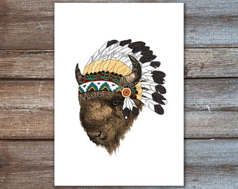 buffalo with indian headdress, native american art, american bison poster 8x10, A4, 5x7