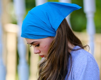 Pretied Head Cover, Turquoise Kerchief, Bandanna Headcovering, Aqua Blue Head Scarf, Bright Blue Bad Hair Day Headcovering (#3605) S