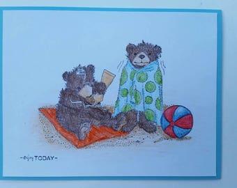 Bear Friends in Summer Card