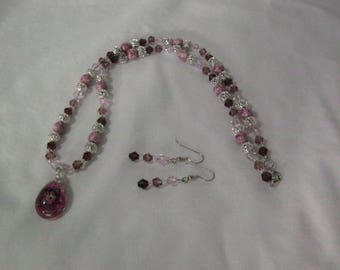 Hand Made Necklace and Earring Set with Crystal Pendant containing Flowers with Silver Filigree, Red & Pink Crystals and Pink Stones