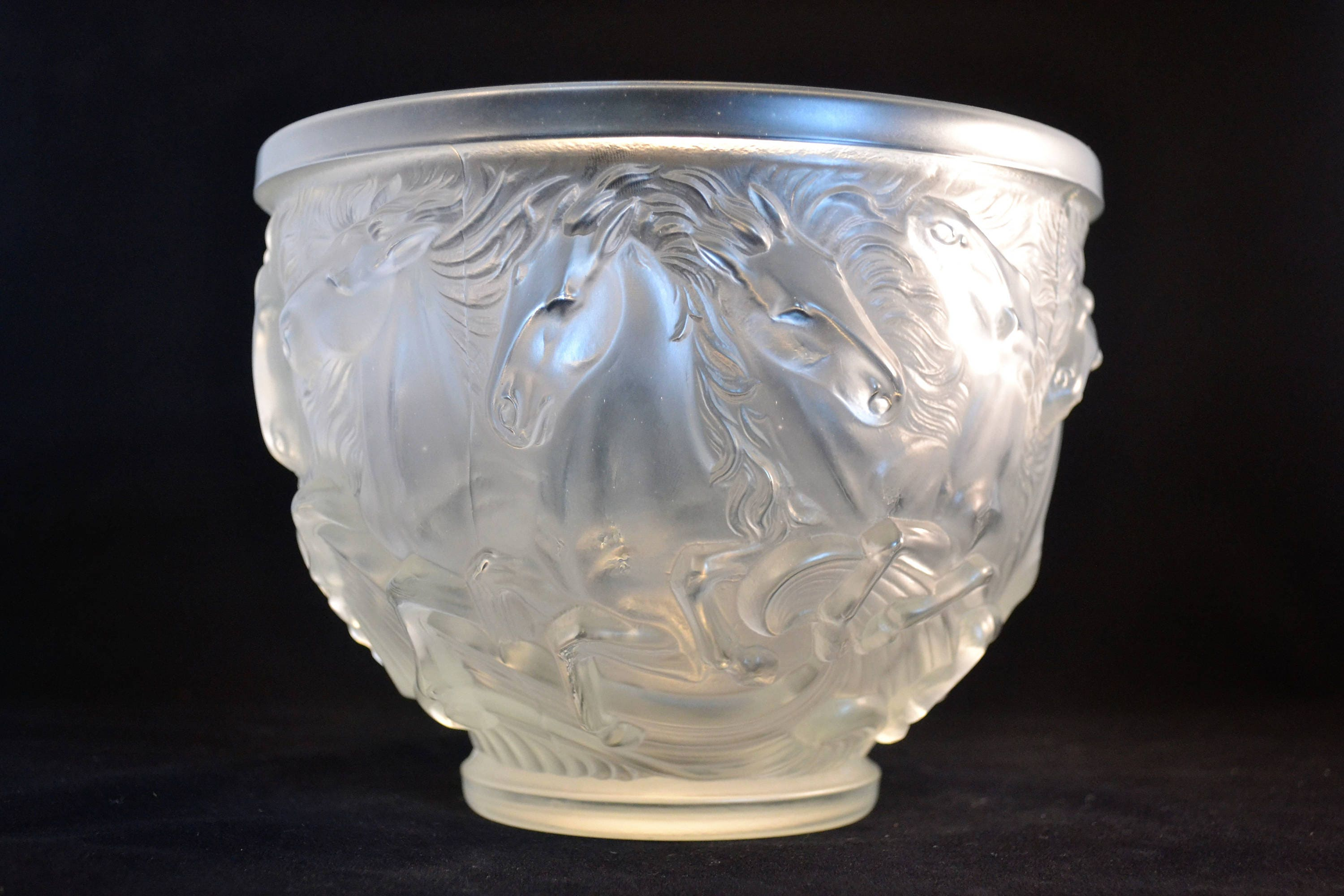 Lalique style frosted glass bowl with horses in releif zoom reviewsmspy