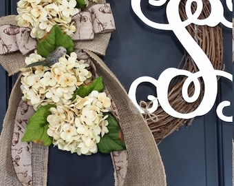 wreath - cream hydrangea -  spring wreath - summer wreath - hydrangea wreath - monogram wreath -easter wreaths