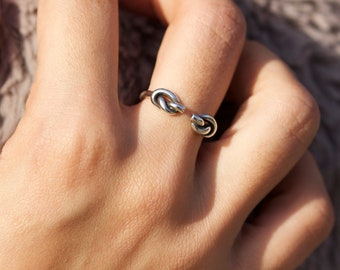 double knot ring sterling silver knot ring with knots, two knot ring, loop ring,lovers knot ring, nautical knot,Opened Stacking Ring