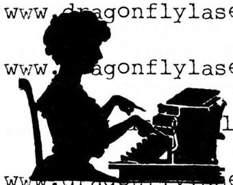 Digital delivered vintage image Silhouette typist