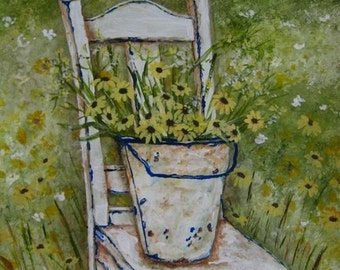 Still Life with flowers on chair