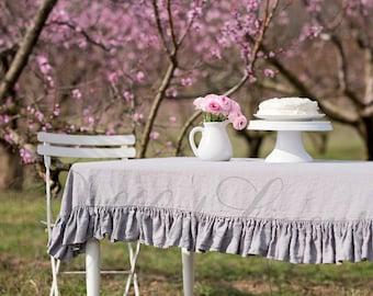 Ruffled Linens Gray Linen Tablecloth