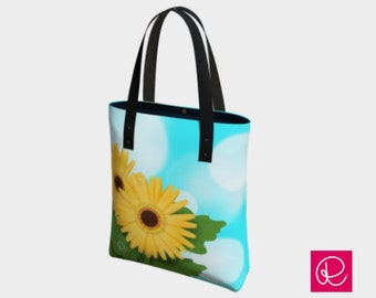 Yellow Gerbera Daisy Tote Bag, sky-blue with soft, white, polka-dot clouds - Raquel Barrera Designs - Spring Tote Bags - Handmade in Canada