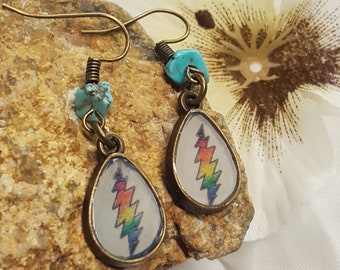 Grateful Dead Earrings/ Grateful Dead Jewelry/ Grateful Dead Fan/ Steal Your Face/ Stealie Earrings/ Jerry Garcia/ Dead Head/ Dead Head Gift