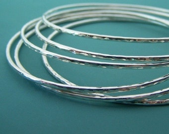 Bangle Set in Sterling Silver Hand Hammered Set of Six Thin Bangles, Custom Sizes
