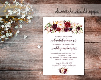 Marsala Bridal Shower Invitation, Burgundy Floral Invitation, Marsala Wedding, Floral Boho Invitation, Bridal Shower Invitation, Printable