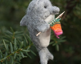 Needle Felted Dolphin Ornament - Knitting