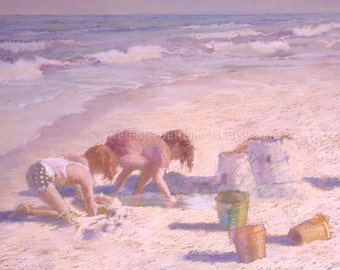 Beach greeting card 5x7 two children, figures, playing in sand, sandcastle, ocean, shore, seashore, blue, pink, lavender, friends, blank