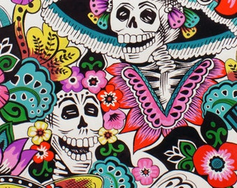 Catrina Chiquita, folklorico, Alexander Henry Cotton Woven in Natural